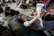Earthquake refugees at a camp in the sports stadium in Mianyang, China