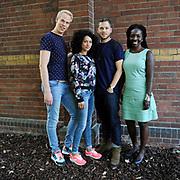 De Cast van NTR/VARA/VPRO op NPO 3 – het langverwachte tweede seizoen te zien van de dramaserie 'A'DAM – E.V.A.' ('Amsterdam en vele anderen') seizoen 2 is bijeen in het Ketelhuis, Amsterdam voor een persviewing.<br /> <br /> Op de foto:  v.l.n.r. Rick Paul van Mulligen , Eva van de Wijdeven , Teun Luijkx en Urmie Plein