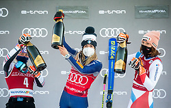 Second Placed Andrea Filser (GER), Winner Marta Bassino (ITA) and third placed Michelle Gisin (SUI)  celebrate at Trophy ceremony after 2nd Run of Ladies' Giant Slalom at 57th Golden Fox event at Audi FIS Ski World Cup 2020/21, on January 16, 2021 in Podkoren, Kranjska Gora, Slovenia. Photo by Vid Ponikvar / Sportida