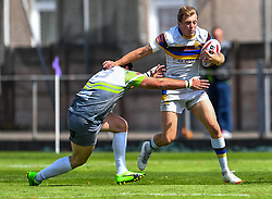 Whitehavens' Jordan Burns is tackled by West Wales Raiders' Alan Pope<br /> <br /> Photographer Craig Thomas/Replay Images<br /> <br /> Betfred League 1 - West Wales Raiders v Whitehaven  - Saturday 23rd June 2018 - Stebonheath Park - Llanelli<br /> <br /> World Copyright © 2017 Replay Images. All rights reserved. info@replayimages.co.uk - www.replayimages.co.uk