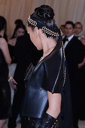 Bella Hadid walking the red carpet at The Metropolitan Museum of Art Costume Institute Benefit celebrating the opening of Heavenly Bodies : Fashion and the Catholic Imagination held at The Metropolitan Museum of Art  in New York, NY, on May 7, 2018. (Photo by Anthony Behar/Sipa USA)
