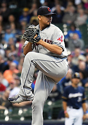 May 9, 2018 - Milwaukee, WI, U.S. - MILWAUKEE, WI - MAY 09: Cleveland Indians Starting pitcher Carlos Carrasco (59) delivers a pitch during a MLB game between the Milwaukee Brewers and Cleveland Indians on May 9, 2018 at Miller Park in Milwaukee, WI.The Indians defeated the Brewers 6-2.(Photo by Nick Wosika/Icon Sportswire) (Credit Image: © Nick Wosika/Icon SMI via ZUMA Press)
