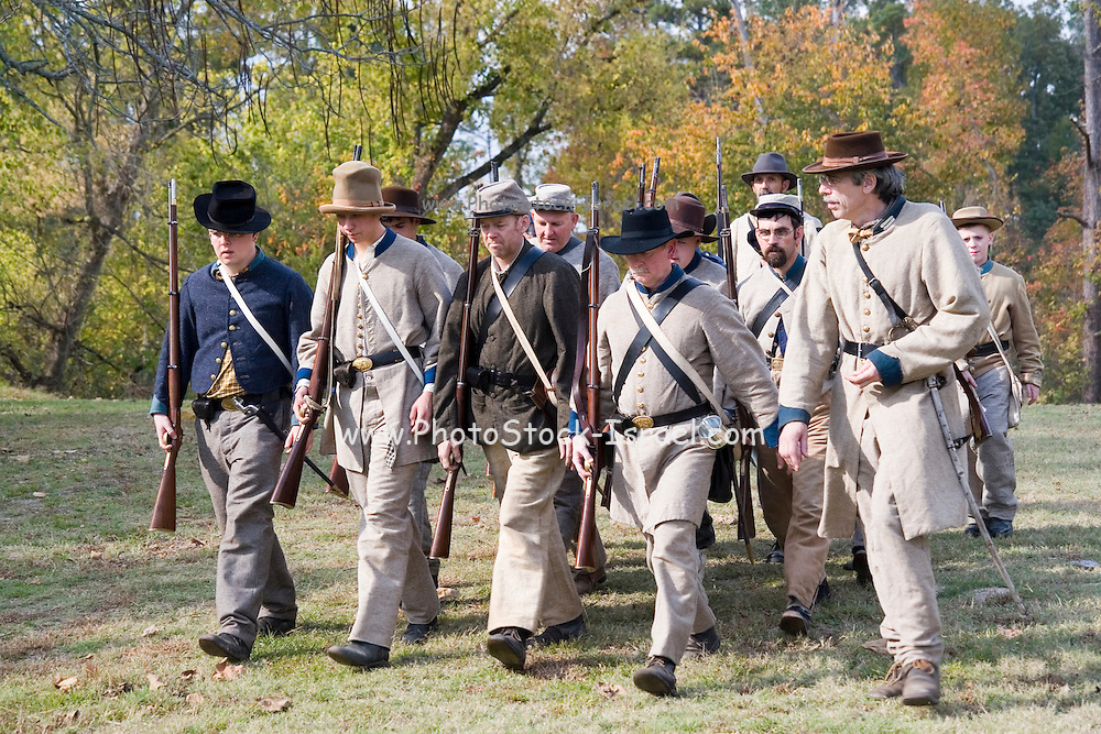 Arkansas, AR, USA, Old Washington State Park, Civil War Weekend. Confederate soldiers marching to the battle