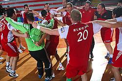 Slovan celebrates at 15th round of Slovenian Handball MIK 1st league match between RD Slovan and RK Celje Pivovarna Lasko, on February 6, 2009, in Kodeljevo, Ljubljana, Slovenia. Win of RK Slovan 18:17. (Photo by Vid Ponikvar / Sportida)