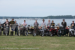 Getting ready to shoot the Panorama before the start of the Motorcycle Cannonball coast to coast vintage run. Portland, ME. Friday September 7, 2018. Photography ©2018 Michael Lichter.