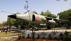 May 1, 2019 - Ajmer, Rajasthan, India - Indian navy chief Sunil Lanba unveils Sea-Harrier Fighter Aircraft at Mayo Collage in Ajmer, Rajasthan on 1 May 2019, This aircraft has been presented by the Indian navy to the NCC unit of Mayo College, aiming to encourage the youngsters to join armed forces. (Credit Image: © Str/NurPhoto via ZUMA Press)