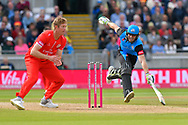 Ben Cox of Worcestershire has to dash to make his ground to avoid being run out during the Vitality T20 Finals Day Semi Final 2018 match between Worcestershire Rapids and Lancashire Lightning at Edgbaston, Birmingham, United Kingdom on 15 September 2018.