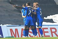 GOAL Mark Byrne is congratulated  during the EFL Sky Bet League 1 match between Gillingham and Rochdale at the MEMS Priestfield Stadium, Gillingham, England on 30 March 2019.