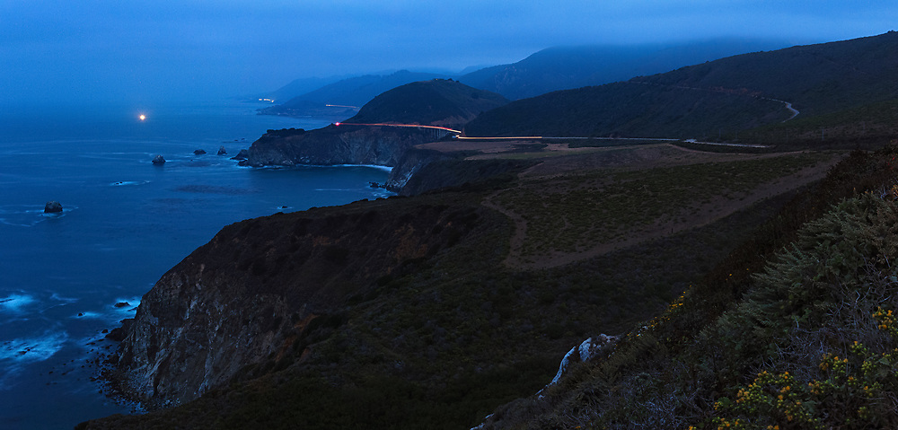 Bixby Bridge is seen in the early morning from Hurricane Point. Big Sur, CA