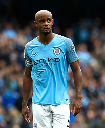 Manchester City's Vincent Kompany reacts during the Premier League match at the Etihad Stadium, Manchester.