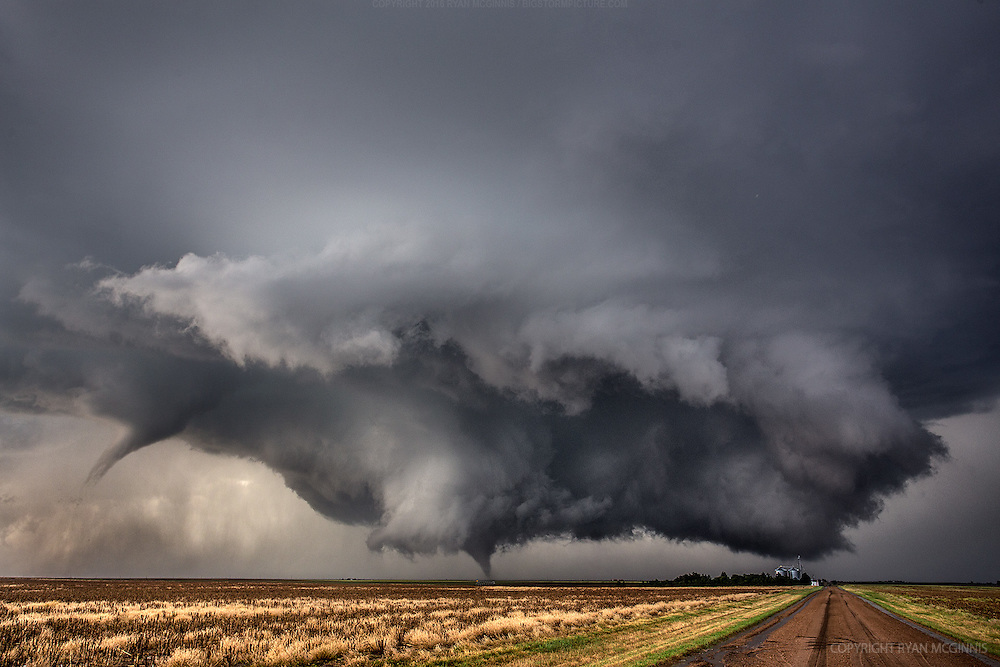 Two tornadoes spin south of Dodge City, Kansas, May 24, 2016.
