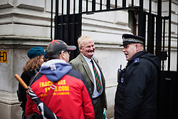 © Licensed to London News Pictures. 05/11/2013. London, United Kingdom. Andrew Pemberton with an anti-Fracking delegation made by dairy farmers is about to get in Downing Street to discuss about the ground contamination affecting their milk due to shale gas-extraction. Photo credit : Andrea Baldo/LNP