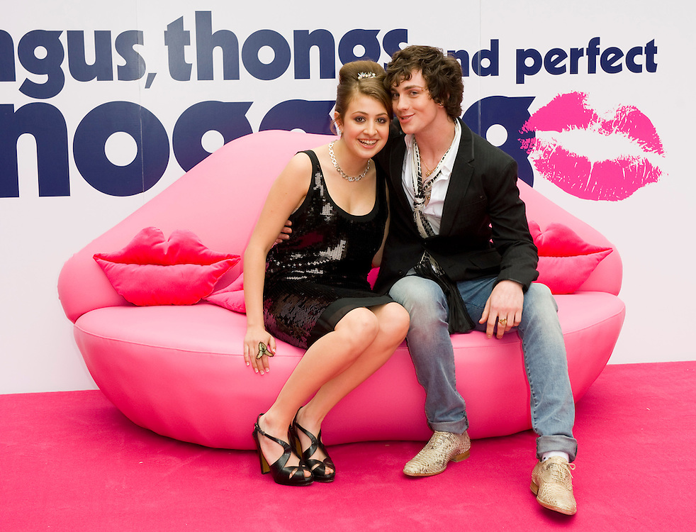 London July 16th   Georgia Groome and Aaron Johnson arrive for the UK premiere for the film Angus, thongs and perfect snogging at the Empire Leicester Square  on July 16th 2008