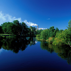 Millinocket, ME. Millinocket Stream and the paper mill. Northern Forest.