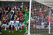 Goalkeeper Tomasz Kuszczak and Clayton Donaldson of Birmingham City ask for an offside decision which is rejected. Skybet football league championship match, Burnley  v Birmingham City at Turf Moor in Burnley, Lancs on Saturday 15th August 2015.<br /> pic by Chris Stading, Andrew Orchard sports photography.