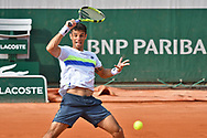 Rogerio Dutra Silva (BRA during the mens singles second round of the Roland Garros Tennis Open 2017 at Roland Garros Stadium, Paris, France on 31 May 2017. Photo by Jon Bromley.