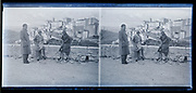 Italy historic city on a hill panoramic view with people circa 1930s