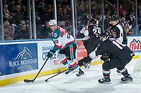 KELOWNA, CANADA - FEBRUARY 7:  Dawson Holt #19 of the Vancouver Giants stick checks Conner Bruggen-Cate #20 of the Kelowna Rockets during first period on February 7, 2018 at Prospera Place in Kelowna, British Columbia, Canada.  (Photo by Marissa Baecker/Shoot the Breeze)  *** Local Caption ***