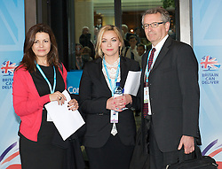 Conservative Party Conference, ICC, Birmingham, Great Britain <br /> Day 3<br /> 9th October 2012 <br /> <br /> Jacqui Hames<br /> Charlotte Church<br /> Brian Cathcart <br /> <br /> photocall prior to Hacked Off meeting <br /> <br /> Photograph by Elliott Franks<br /> <br /> United Kingdom<br /> Tel 07802 537 220 <br /> elliott@elliottfranks.com<br /> <br /> ©2012 Elliott Franks<br /> Agency space rates apply