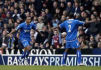 Fotball<br /> Premier League 2004/05<br /> Aston Villa v Birmingham<br /> Villa Park<br /> 12. desember 2004<br /> Foto: Digitalsport<br /> NORWAY ONLY<br /> Birmingham's Clinton Morrison (L) celebrates scoring his side's second goal with Olivier Tebily