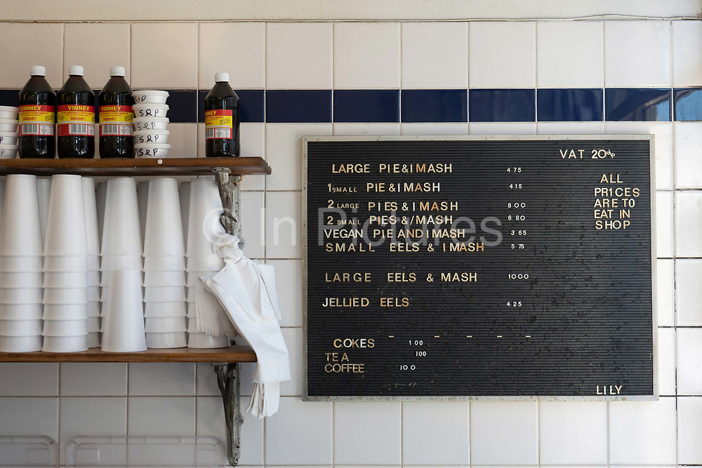 A menu board at F Cooke cafe on the 20th September 2019 in London in the United Kingdom.
