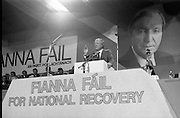 Fianna Fáil Árd Fheis.  (R31)..1986..19.04.1986..04.19.1986..19th April 1986..The Fianna Fáil party held their Árd Fheis at the Simmonscourt, RDS,Dublin over this weekend. the keynote address was given by the party leader Mr Charles Haughey TD...Image shows Mr Charles Haughey TD, Fianna Fáil party leader,passionately delivering his keynote address to the party faithful at the Simmonscourt hall.