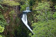 Ceunant Mawr Waterfall or Llanberis Falls, the waterfall stop on the Snowdon Mountain railway line, Snowdonia, North Wales.
