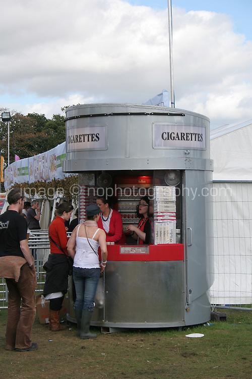 Cigarette stand at music festival