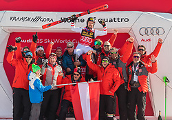 Marcel Hirscher and team Austria during the flower ceremony Men's Slalom race of FIS Alpine Ski World Cup 57th Vitranc Cup 2018, on March 4, 2018 in Kranjska Gora, Slovenia. Photo by Urban Meglič / Sportida