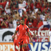 Panama defender Roman Torres (5) celebrates the first goal of the game during a CONCACAF Gold Cup soccer match between the United States and Panama on Saturday, June 11, 2011, at Raymond James Stadium in Tampa, Fla. (AP Photo/Alex Menendez)