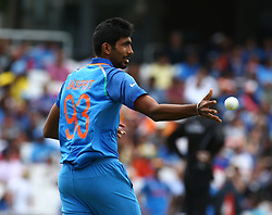 June 11, 2017 - London, United Kingdom - Jasprit Bumrah of India.during the ICC Champions Trophy match Group B between India and South Africa at The Oval in London on June 11, 2017  (Credit Image: © Kieran Galvin/NurPhoto via ZUMA Press)