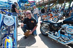 Custom bike Builder  ]Peter Penz of Austria judging at the annual Rats Hole Show during Daytona Bike Week. FL, USA. March 15, 2014.  Photography ©2014 Michael Lichter.