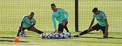 October 5, 2017 - Oeiras, Lisbon, Portugal - Portugal forward Ricardo Quaresma (L) with Portugal forward Cristiano Ronaldo (C) and Portugal defender Jose Fonte (R) during National Team Training session before the match between Portugal and Andorra at City Football in Oeiras, Lisbon on October 5, 2017. (Credit Image: © Dpi/NurPhoto via ZUMA Press)
