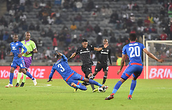South Africa: Johannesburg: Orlando Pirates Vincent Pule and  SuperSport United Bongani Khumalo during the Absa Premiership at the Orlando stadium, Gauteng. <br /> Picture: Itumeleng English/African News Agency (ANA)<br />Picture: Itumeleng English/African News Agency (ANA)