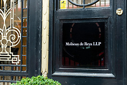 © Licensed to London News Pictures. 28/04/2021. LONDON, UK. The nameplate at the entrance of Africa House on Kingsway, the headquarters of leading law firm Mischon de Reya.   Partners in the firm have voted to take the 83 year old firm public on the London stock market and investment bank JP Morgan has been appointed.  A valuation of £750m would make it the most highly valued law firm.  The firm represented Diana Princes of Wales during her divorce as well as on the UK Supreme Court's challenge to the government's decision to prorogue Parliament in 2020..  Photo credit: Stephen Chung/LNP