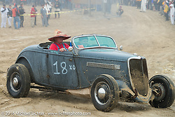 Gary Odbert riding onto the beach in his 1934 Ford Roadster  at TROG West - The Race of Gentlemen. Pismo Beach, CA, USA. Saturday October 15, 2016. Photography ©2016 Michael Lichter.