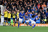 Ipswich Town midfielder Bersant Celina (11) celebrates scoring a goal, making the score 2-1, during the EFL Sky Bet Championship match between Burton Albion and Ipswich Town at the Pirelli Stadium, Burton upon Trent, England on 28 October 2017. Photo by Richard Holmes.
