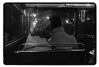 Mixed-race couple on the bus 53, London, 1982. South-East London, 1982