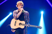 Ed Sheeran performing at the iHeartRadio Music Festival in Las Vegas, Nevada on Sepembter 20, 2014.