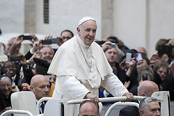 October 19, 2016 - Vatican City, Vatican - Pope Francis leaves at the end of his Weekly General Audience in St. Peter's Square in Vatican City, Vatican. Pope Francis on Wednesday said access to food and water is a basic human right, and called on believers and people of good will everywhaere to take personal responsibility for the needs of their neighbors. (Credit Image: © Giuseppe Ciccia/Pacific Press via ZUMA Wire)
