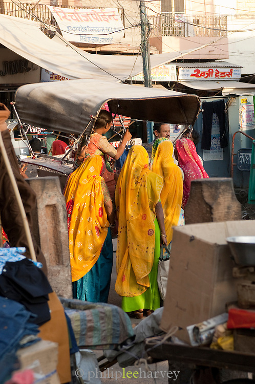 Women on a busy street in Jodhpur, Rajasthan, India