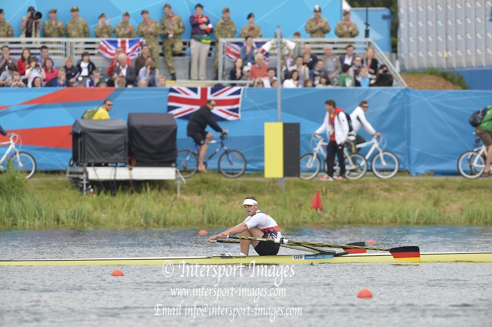 Eton Dorney, Windsor, Great Britain,..2012 London Olympic Regatta, Dorney Lake. Eton Rowing Centre, Berkshire[ Rowing]...Description;  Men's Single Sculls GER M1X, Marcel HACKER.  Dorney Lake...11:27:21  Wednesday  01/08/2012..[Mandatory Credit: Peter Spurrier/Intersport Images].