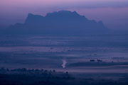 Mountain view before sunrise, A Lan Tatar Village, Kathapa-Anauk Town, Thaton, Mawlamyine, Myanmar