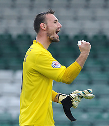 Artur Krysiak of Yeovil Town celebrates victory - Photo mandatory by-line: Harry Trump/JMP - Mobile: 07966 386802 - 22/08/15 - SPORT - FOOTBALL - Sky Bet League Two - Yeovil Town v Luton Town - Huish Park, Yeovil, England.