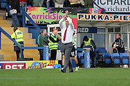 Newport County Manager Justin Edinburgh acknowledges the traveling fans. Skybet Football League two match, Bury v Newport county at Gigg Lane in Bury on Saturday 5th Oct 2013. pic by David Richards, Andrew Orchard sports photography,
