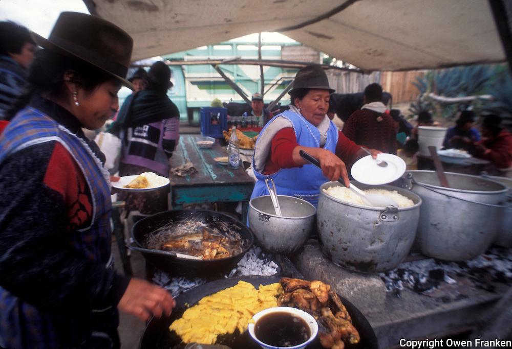 market, street food in Pujili, Ecuador