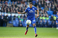 Nathaniel Mendez-Laing of Cardiff City in action. EFL Skybet championship match, Cardiff city v Birmingham City at the Cardiff city stadium in Cardiff, South Wales on Saturday 10th March 2018.<br /> pic by Andrew Orchard, Andrew Orchard sports photography.