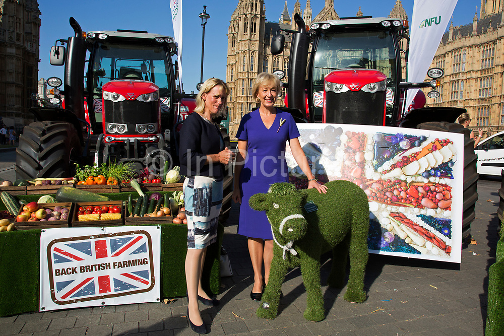 NFU Vice President Minette Batters with Secretary of State, Andrea Leadsome at the National Farmers Union NFU took machinery, produce, farmers and staff to Westminster to encourage Members of Parliament to back British farming, post Brexit on 14th September 2016 in London, United Kingdom. MPs were encouraged to sign the NFU's pledge and wear a British wheat and wool pin badge to show their support.