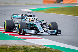 February 19, 2019 - Barcelona, Spain - Lewis Hamilton of Mercedes AMG Petronas Formula One Team with new W10 car during second journey of F1 Test Days in Montmelo circuit, on February 19, 2019. (Credit Image: © Javier MartíNez De La Puente/NurPhoto via ZUMA Press)