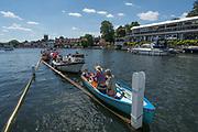 Henley-on-Thames. United Kingdom.  2017 Henley Royal Regatta, Henley Reach, River Thames. <br /> Picnic boats, moored on the booms<br /> <br /> <br /> 13:36:09  Sunday  02/07/2017   <br /> <br /> [Mandatory Credit. Peter SPURRIER/Intersport Images.